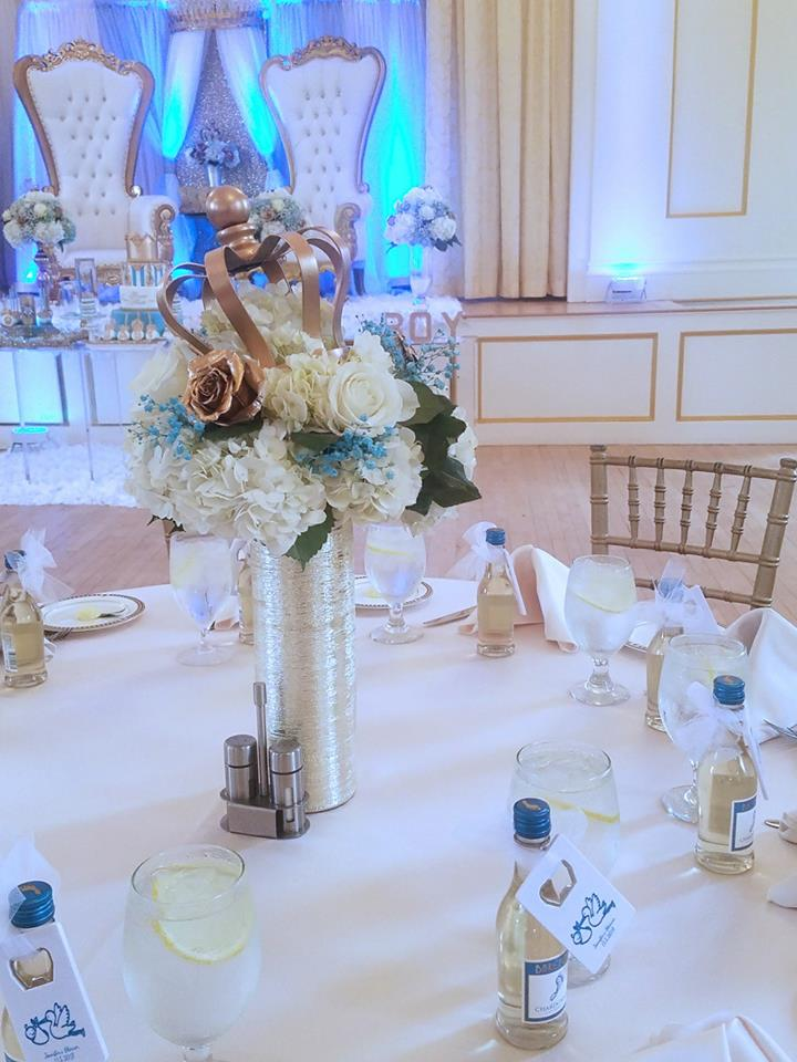 light-blue-gold-royal-prince-baby-shower-tables-with-custom-bottles