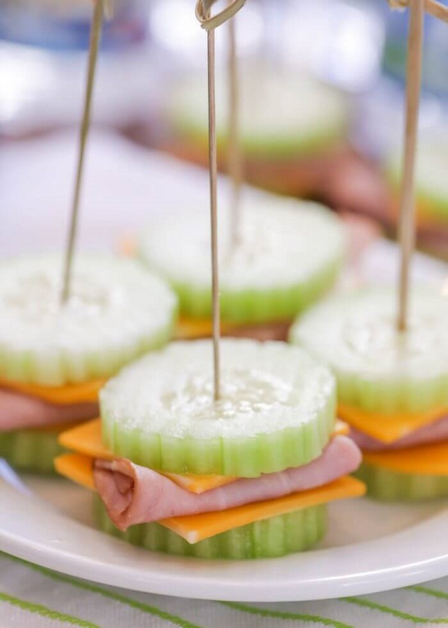 Cucumber Ham and Cheese Bite