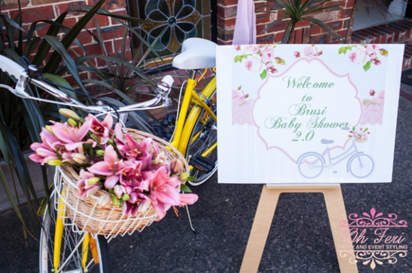 florals-and-bicycles-baby-shower-welcome-display