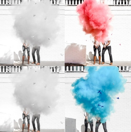 Gender Reveal Roulette Powder Cannons in Pink or Blue Smoke