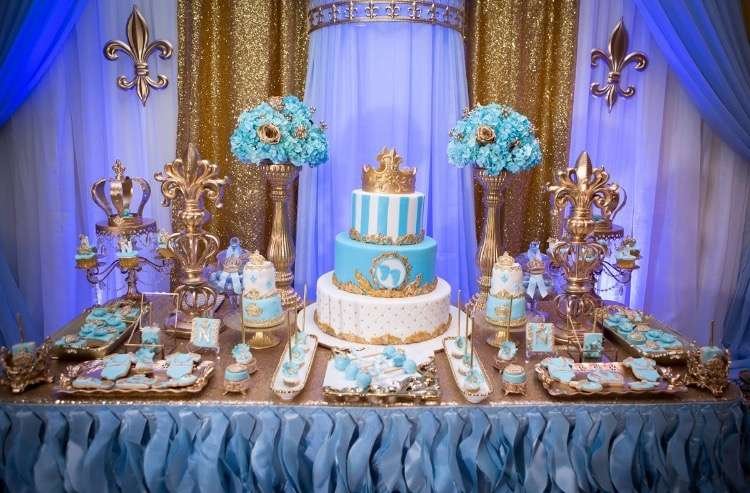 gold-and-blue-royal-baby-shower-cake-with-baby-footprint