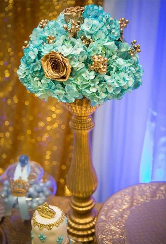 gold-and-blue-royal-baby-shower-floral-arrangement