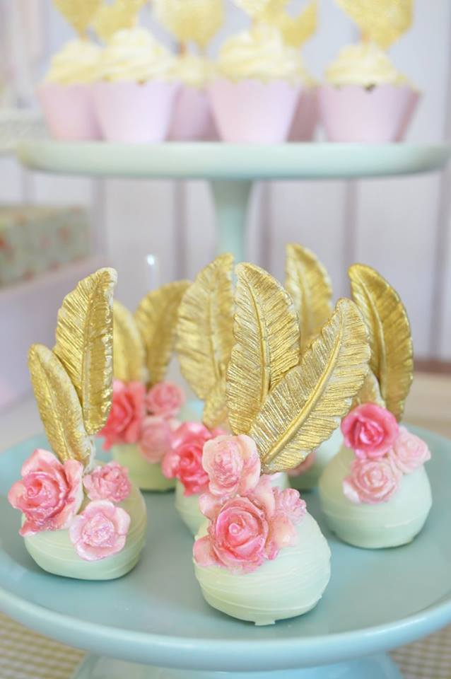 pastel-boho-chic-party-treats-with-pink-floral-and-golden-feathers