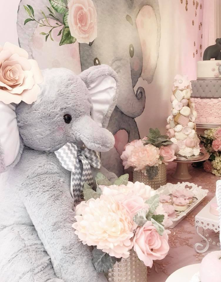 pink-and-gray-elephant-baby-shower-pastel-flowers