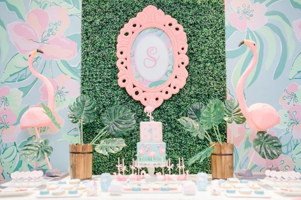 tropical-flamingo-dessert-table