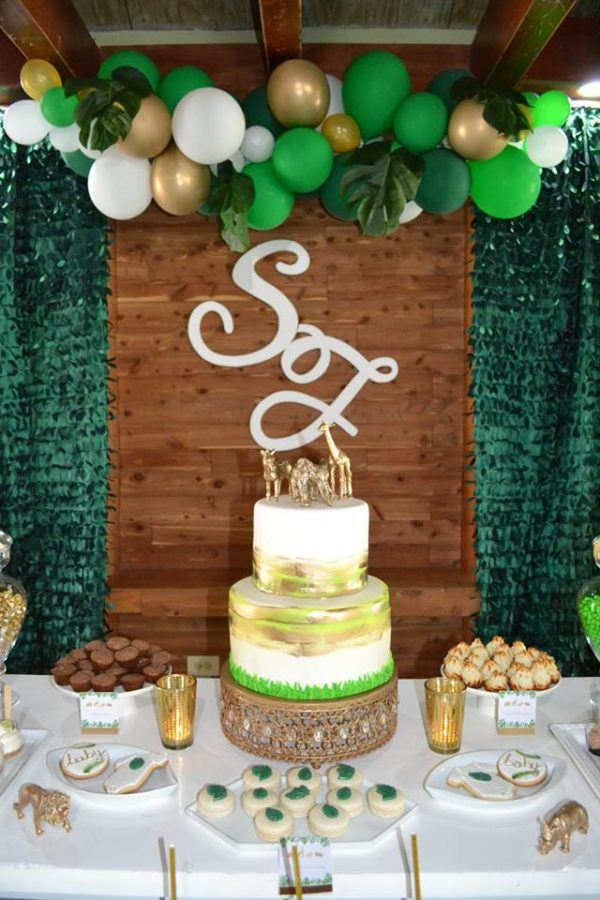 gold-and-hunter-green-safari-baby-shower-cake