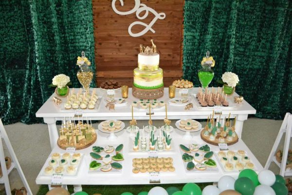 gold-and-hunter-green-safari-baby-shower-dessert-bar
