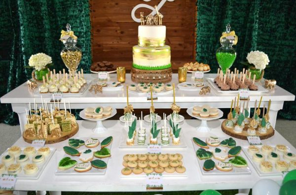 gold-and-hunter-green-safari-baby-shower-desserts