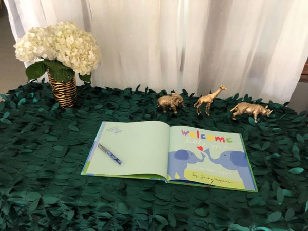 gold-and-hunter-green-safari-baby-shower-welcome-guestbook