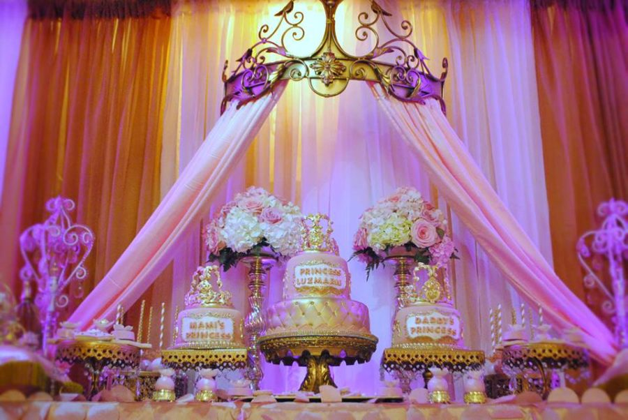 gold-and-pink-princess-baby-shower-dessert-table