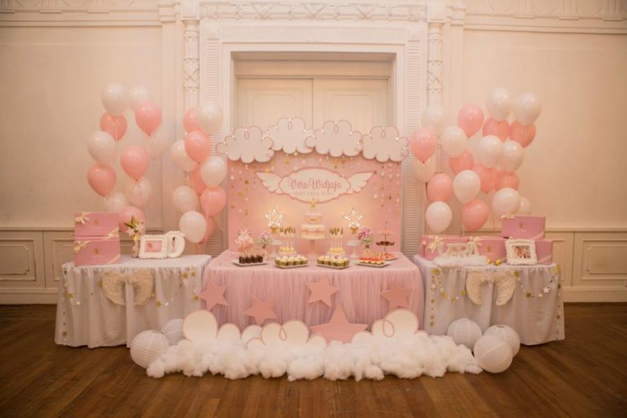 angelic-pink-baby-shower-desserts-table