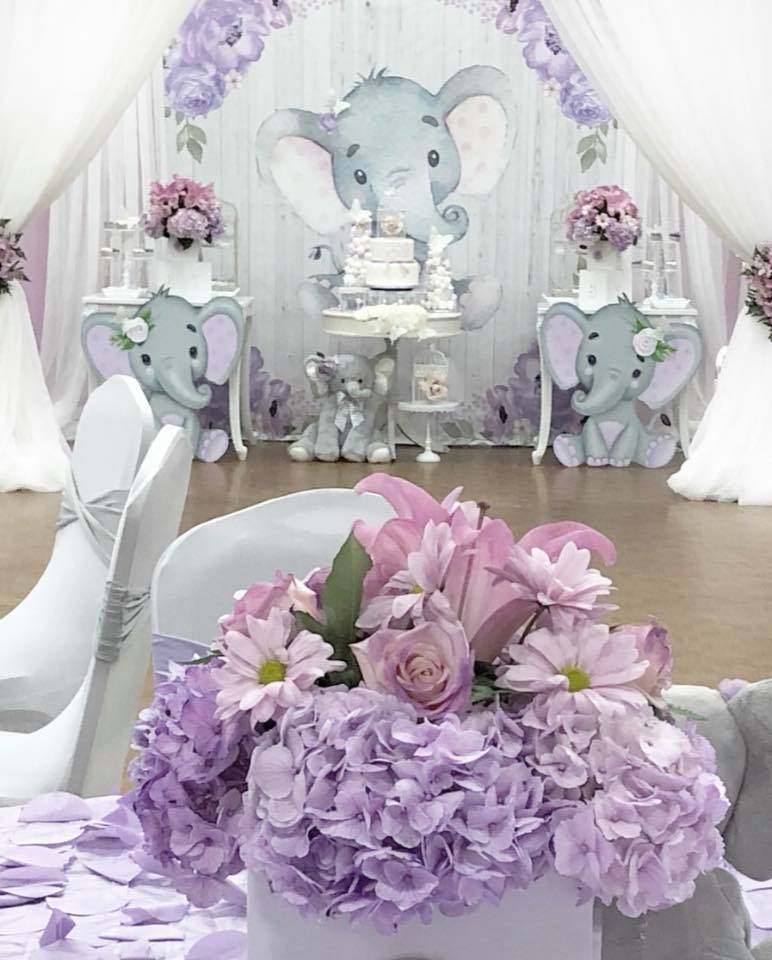 springtime-elephant-baby-shower-purple-flowers