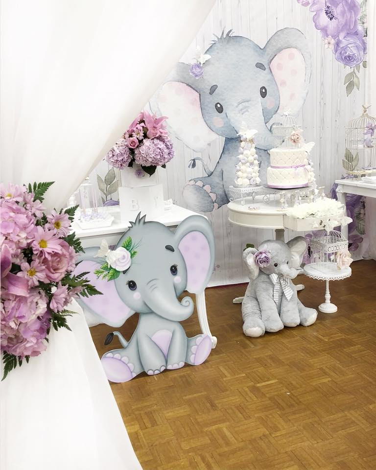 springtime-elephant-baby-shower-stuffed-decorations