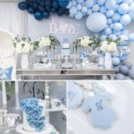 Blue And Silver Elephant Baby Shower