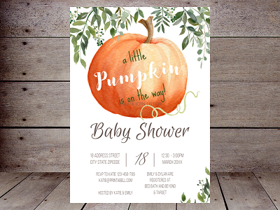Little Pumpkin fall and greenery invitation