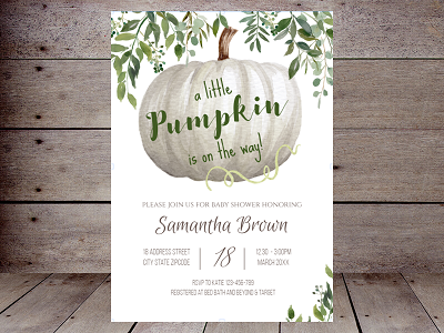 greenery fall baby shower invitation editable
