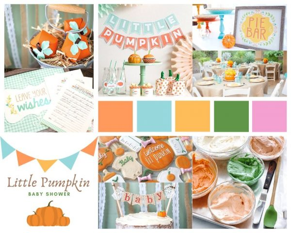 little pumpkin baby shower decoration collage