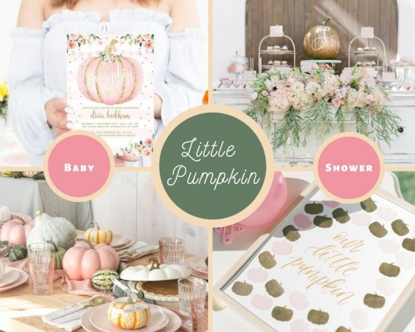 pink and gold little pumpkin baby shower
