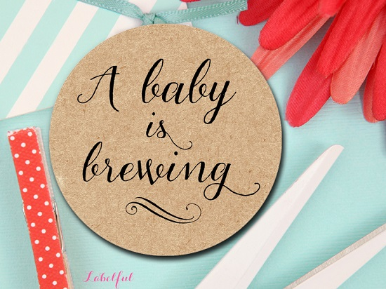 baby is brewing tags in kraft background