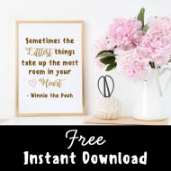 free winnie the pooh baby quote sign