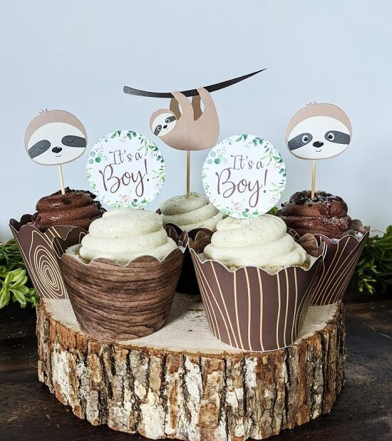 Sloth Baby Shower Cupcake Toppers