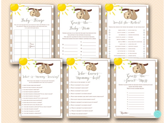 sloth baby shower games