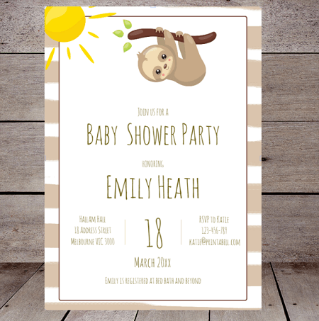 editable sloth baby shower invitation
