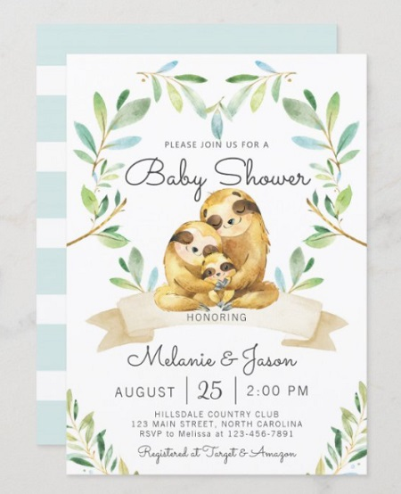 family sloth baby shower invitation