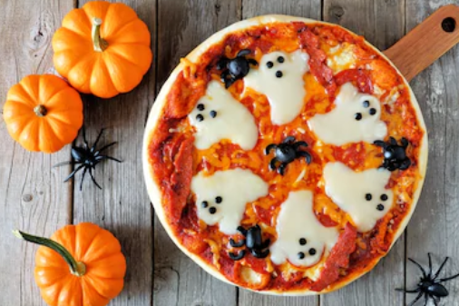halloween-pizza-with-ghostly-cheese-and-olive-spiders