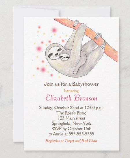mommy and baby sloth baby shower invitation