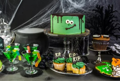 super green Frankenstein frosted double tier cake