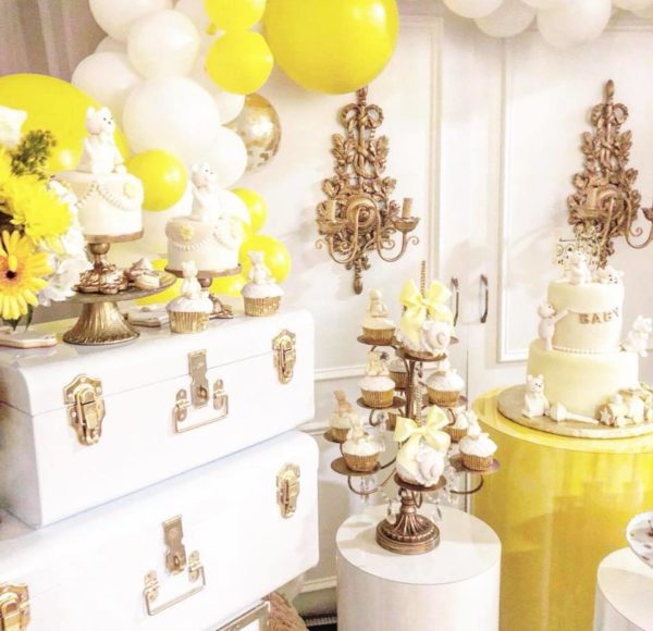glam-yellow-and-white-baby-shower-dessert-and-food