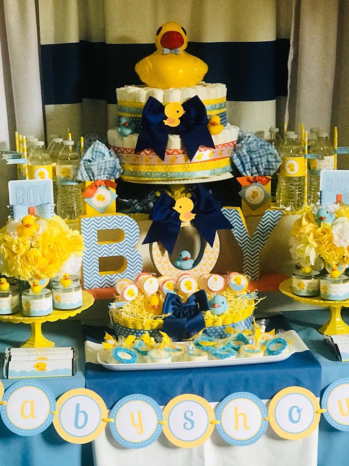 blue-and-yellow-rubber-ducky-baby-shower-dessert-table
