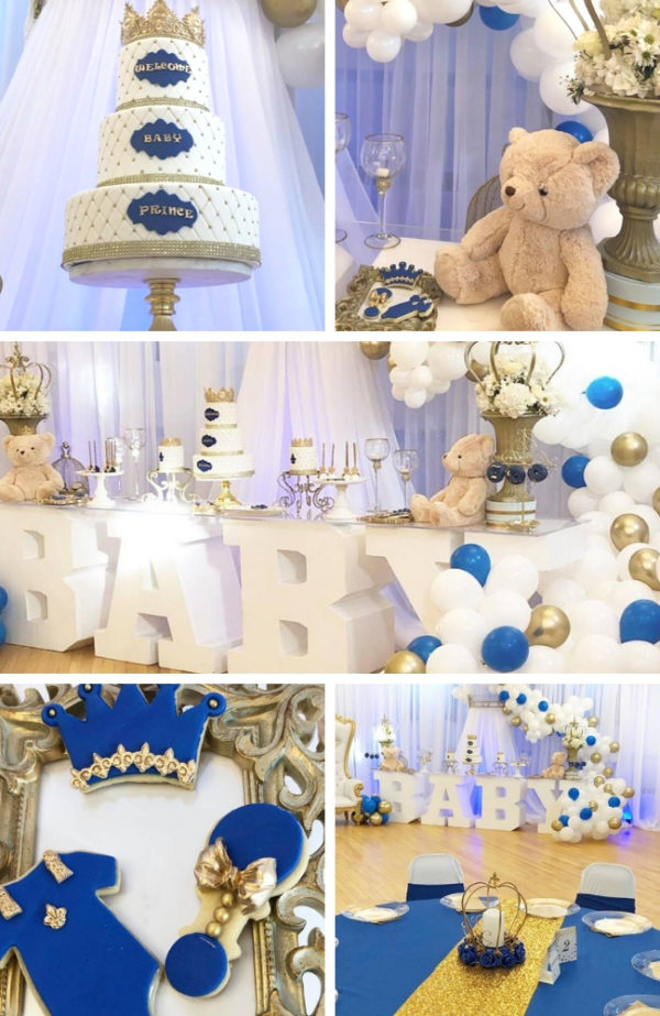 gold-white-blue-prince-baby-shower