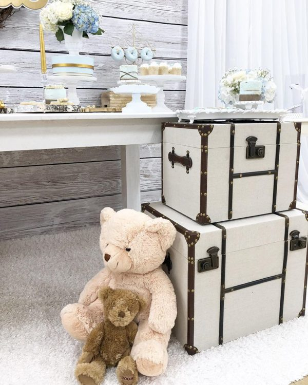 rustic-style-baby-shower-teddy-bear-white-luggage