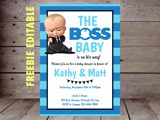 free editable boss baby shower invitation