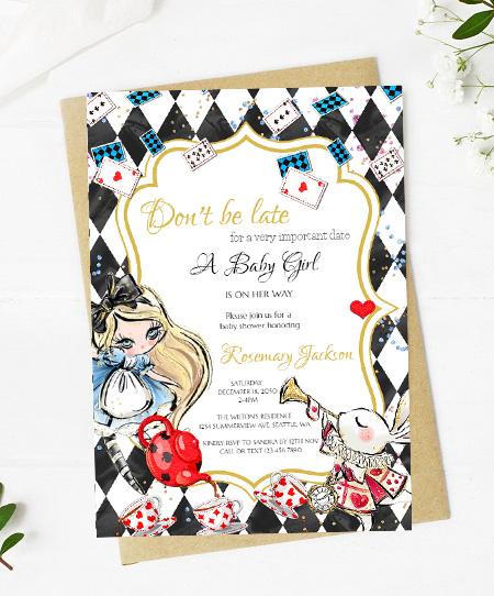 editable alice in wonderland baby shower invitation