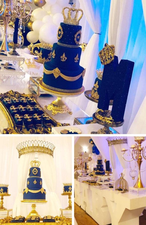 Royal King Baby Shower Dessert Table Setup