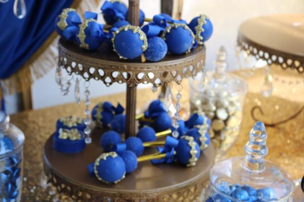 gold and blue prince baby rattle cakepops