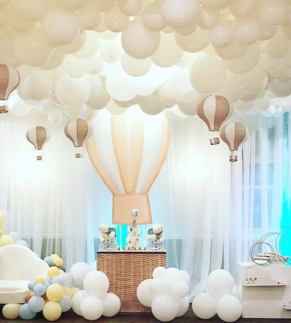 white cloud balloons in ceiling