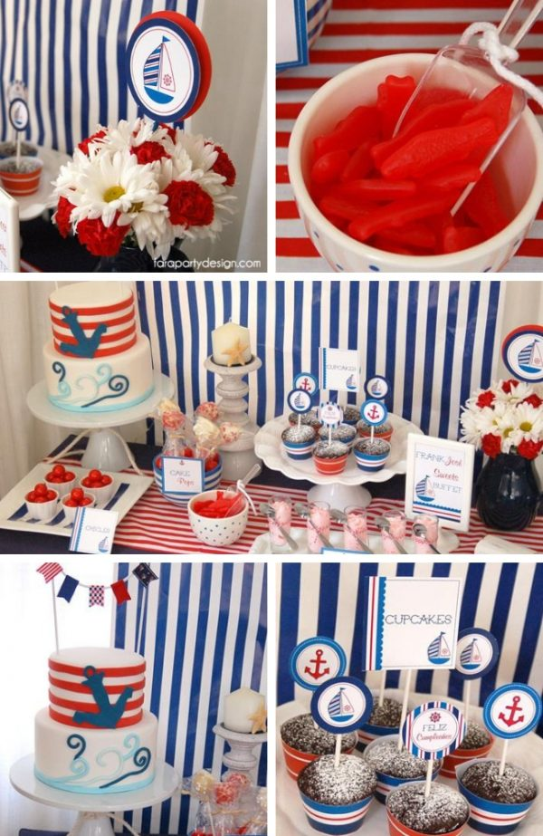 Red and Blue Nautical Theme Party tablescape