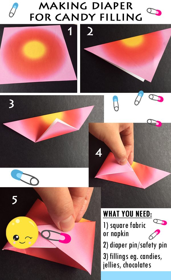 step to step instruction to Making a Napkin Diaper