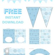 free pastel blue baby shower printable