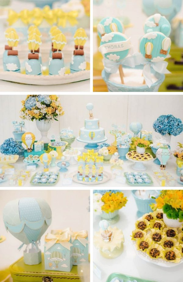 Sweet Blue and Yellow Hot Air Balloon Baby Shower