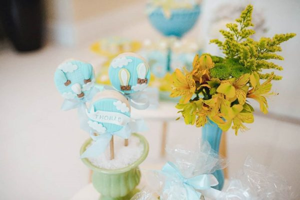 bright yellow florals and cakepops