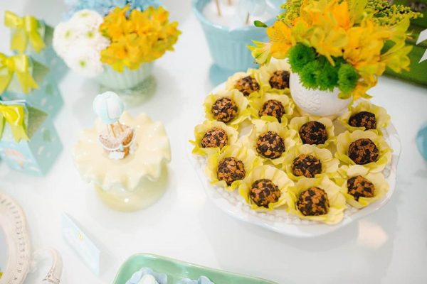chocolate balls in yellow wrapper