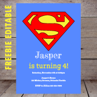 free superman editable invitation