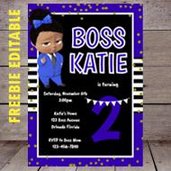 free editable blue girl boss baby invitation