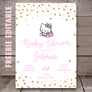 free pink and gold hello kitty invitation