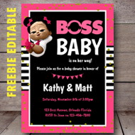 free editable pink boss baby invitation baby shower